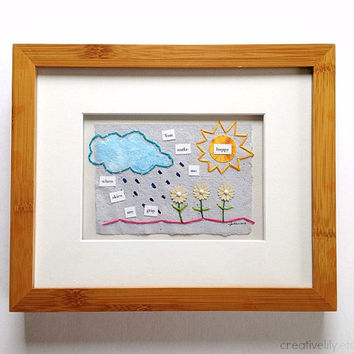 Original Paper Collage Hand-Stitched 8 x 10 Framed Art - You Make Me Happy When Skies Are Gray - rain and sun, nursery art, wall decor