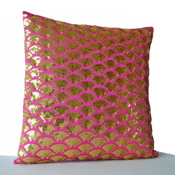 Decorative Pillows -Gold Accent Pillows -Gold Pillow -Gold Sequin pillow cover -Gold Hot Pink Cushion cover -gift -16x16 -Gold Pink pillows