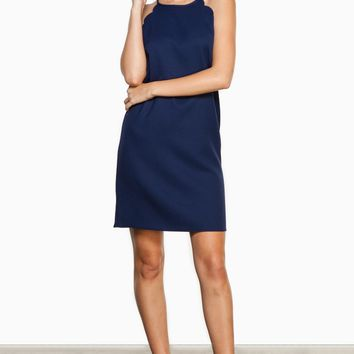 ShopSosie Style : Cate Scalloped Dress in Navy