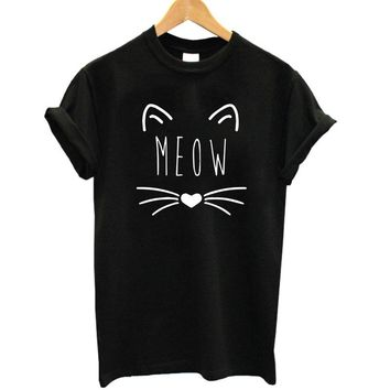 2017 Women T-shirt Short Sleeve BEST FRIEND Girls T Shirt 2017 Hot Sale Lovely Cat Print Cotton Tops Tshirt