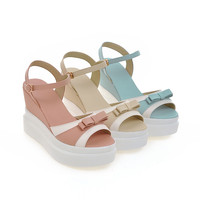 Women Sandals with Bow Fish Head Wedges Platform High-heeled Shoes