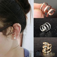Punk Rock Ear Clip Cuff Wrap Earrings No piercing-Clip On Silver Gold Bronze (With Thanksgiving&Christmas Gift Box)