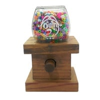 Vintage Gumball Machine, Farmhouse Country Kitchen, Glass Globe Wood Base, Made in USA, Small Bubble Gum Candy Dispenser, Knock On Wood Corp