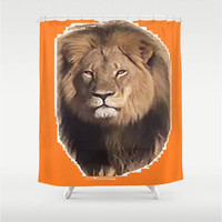Cecil the Lion Shower Curtain Save the Lions Shower Curtain Bathroom Decor Orange Shower Curtain I Love Cecil Shower Curtain Endangered Lion