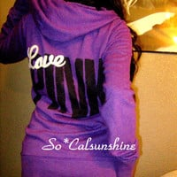 Victoria's Secret PINK Purple BACK LOGO Over Sized Hoodie Jacket Sweatshirt S M