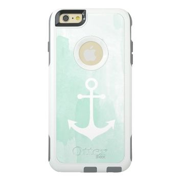 white nautical anchor on mint watercolor OtterBox iPhone 6/6s plus case