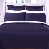 """Navy 550TC Olympic Queen Solid Bed in A Bag 90x92"""" Combed cotton With Down Alternative Comforter"""