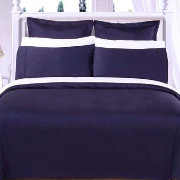 "Navy 550TC Olympic Queen Solid Bed in A Bag 90x92"" Combed cotton With Down Alternative Comforter"