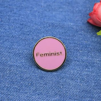 Pink Round Brooches Letter Feminist Enamel Pin for Girls Lapel Pin Hat/bag Pins Denim Jacket Shirt Women Brooch Badge SC4240