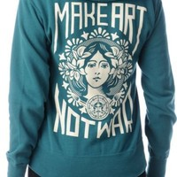 Obey Make Art Not War Dark Teal Zip Up Hoodie at Zumiez : PDP