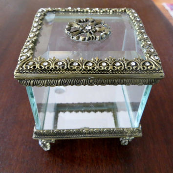 Antique Ormolu Jewelry Box, Footed Jeweled Jewelry Casket, Vintage Vanity Box
