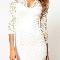 Bodycon Lace Dress - White