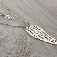Personalized Layered Necklace Set of 2 Angel Wing Necklaces - Choose Words Sterling Silver Hand Stamped - Christina Guenther