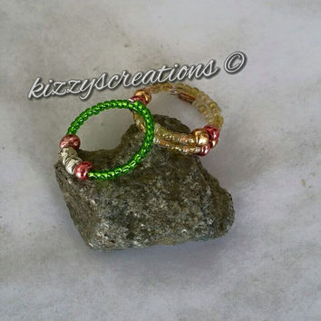 Glass Beaded, Stacking Rings, Memory Wire, Trending Jewelry, Summer Fashion, Bling, Boho Style, Hand Crafted, Artisan, Colorful Designs