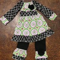 Girls Flower Power Outfit {Black Mix}