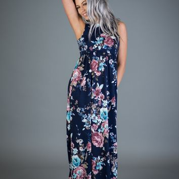 Navy Floral Sleeveless Maxi Dress