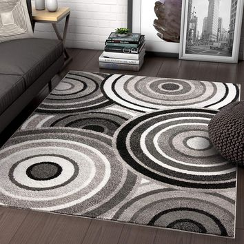 7050 Black Gray Abstract Contemporary Area Rugs