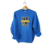 College Prep Sweater Blue Sweatshirt Crewneck Pullover N Wildcats Slouchy Preppy Fall Top High School Jumper Womens size Large