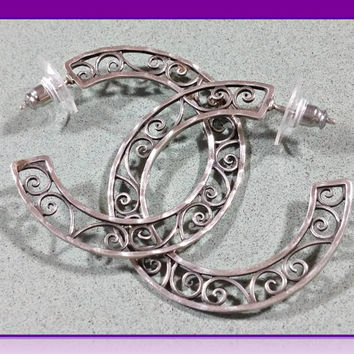 Sterling Silver Hoop Earrings Intricate Scroll Design Openwork Filigree Wide Thin Big Fun Elegant Hammered Edges Must See to Understand Desc