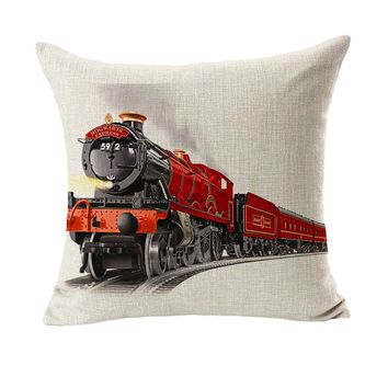 Series Hogwarts Express Train Design Massager Pillow Decorative Vintage Pillows  Cover Home Decor Gift