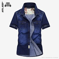 AFS JEEP Cowboy Pockets Cotton Casual Shirts Men Spring Short Sleeve Dress Shirts Summer Fashion Sweat Multi-pocket Denim Blue