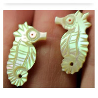 Cute Adorable Natural Mother of Pearl Carved Sea Shell Seahorse screw back Earrings 1950's or 1960's excellent condition