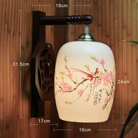 LED Vintage Arm Wall Lamp E27 Porcelain Lampshade  Wood Holder Bedroom Night  Light Hotel Lamp Lighting Wall Lights
