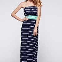 Dress - Port of Call Strapless Stripe Maxi Dress in Navy