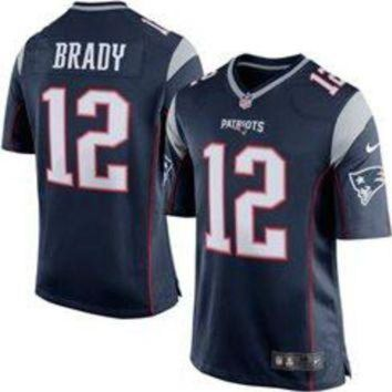 PEAPNO Tom Brady Nike Elite NFL New England Patriots men's jersey (Blue)