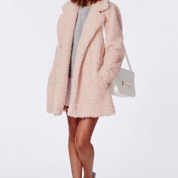 CELINE OVERSIZED CURLY WOOL COAT PINK