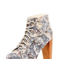 Aneesa Grey Floral Block Heel Shoe Boot