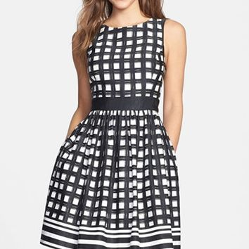 Women's Eliza J Print Faille Fit & Flare Dress,