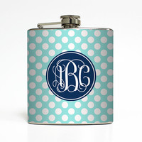 Custom Flask Personalized Polka Dot Vine Fancy Monogram Custom Color 21st Birthday Women Gifts Stainless Steel 6 oz Liquor Hip Flask LC-1418