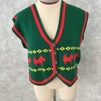 Inner Visions Ship N Shore Christmas sweater vest Size Large dogs ugly