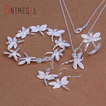 GNIMEGIL Hot 925 Stamped Silver Color Dragonfly Necklace+Bracelets+Rings+Earrings Jewelry Sets Women Jewelry For Party Wedding