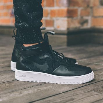 LMFON Nike Air Force 1 Ultraforce Mid 864025-002 Black For Women Men Running Sport Casual Shoes Sneakers