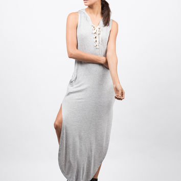 Hooded Lace Up Sleeveless Dress