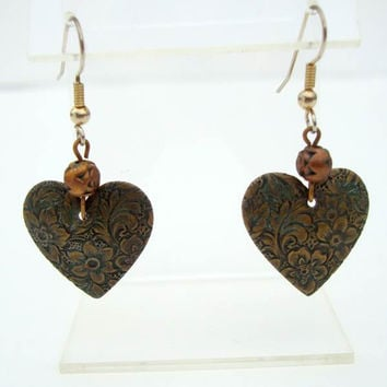 Art Nouveau Antiqued Brass Heart Earrings Embossed Floral Vintage Jewelry