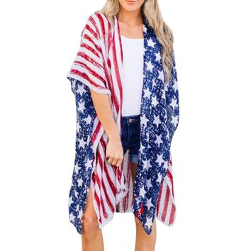 Women American Flag Print Beach Top Independence Day Loose Shawl Kimono Cardigan Top Cover Blouse Veste Femme Manche Longue