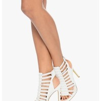 White Bungee Chic Strappy Heels | $10.00 | Cheap Trendy Heels and Pumps Chic Discount Fashion for