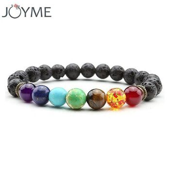 ONETOW joyme new 7 chakra bracelet men black lava healing balance beads reiki buddha prayer natural stone yoga bracelet for women