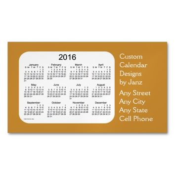 2016 Gold Business Calendar by Janz Magnet Magnetic Business Cards (Pack Of 25)