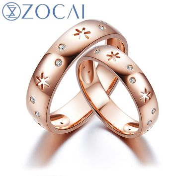 ZOCAI New Arrival ICE and FIRE Series Wedding Bands Ring 0.12 Ct Real Diamond Ring 18K Rose gold women wedding ring Q80083ABT