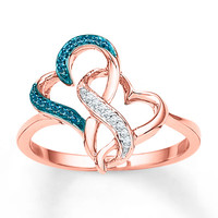Diamond Heart Ring 1/15 ct tw Blue & White 10K Rose Gold