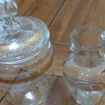 Vintage Gold and White Blown Glass Lidded Cookie Jar and Pitcher Great Kitchen Decor