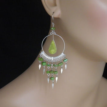"Effortless Elegance With These Exotic Light Green Chandelier Earrings 4"" Long Natural Serpentine Stone Beaded Chandelier Earrings"