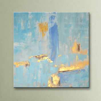 ON SALE Blue Gold Light Blue Brown Original Square Abstract Painting on Canvas Wall Art 32x32 inch Home Decor Wall Hanging Unstretched AU10