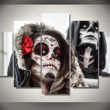 Day of the Dead Face - Male Female - Canvas 5 Panel Print Picture wall art
