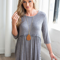 Mineral Wash Babydoll Top - Grey