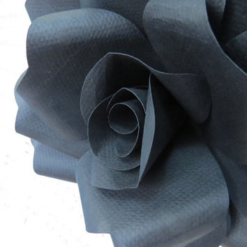 BLACK paper wall rose - floral decor - wall art paper sculpture - Flower Taxidermy No.49